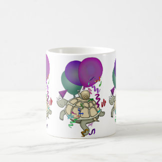 Cartoon turtle and snail with balloons. classic white coffee mug