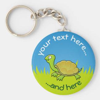 Cartoon Turtle on Grass Basic Round Button Keychain