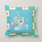 Cartoon Unicorn kids room throw pillow