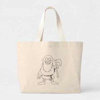 cartoon viking guy large tote bag