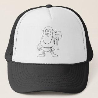 cartoon viking guy trucker hat