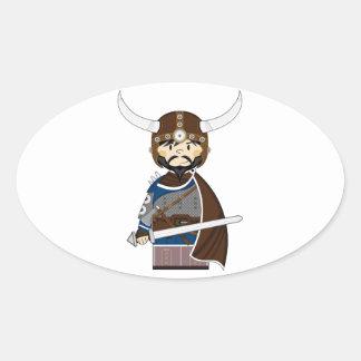 Cartoon Viking Warrior Oval Stickers