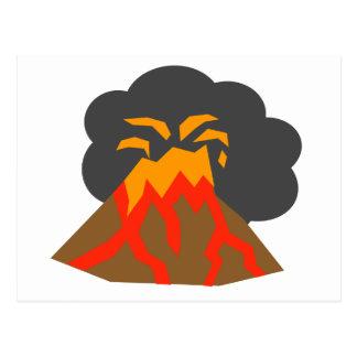 Cartoon Volcano Erupting Lava and Smoking Postcard