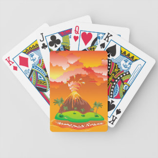 Cartoon Volcano Eruption 2 Bicycle Playing Cards