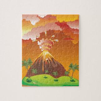 Cartoon Volcano Eruption 2 Jigsaw Puzzle