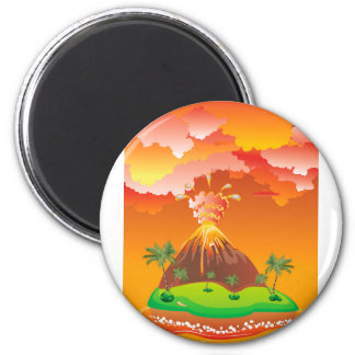 Cartoon Volcano Eruption 2 Magnet