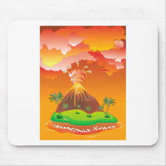 Cartoon Volcano Eruption 2 Mouse Pad