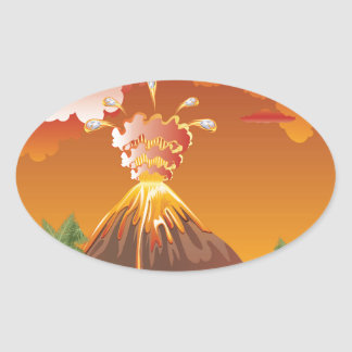 Cartoon Volcano Eruption 2 Oval Sticker