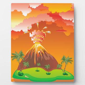 Cartoon Volcano Eruption 2 Plaque