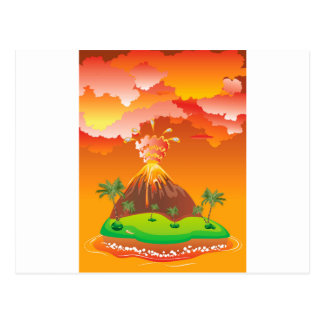 Cartoon Volcano Eruption 2 Postcard