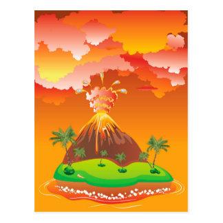 Cartoon Volcano Eruption 2 Postcard