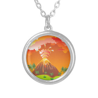 Cartoon Volcano Eruption 2 Silver Plated Necklace