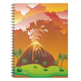 Cartoon Volcano Eruption 2 Spiral Notebook