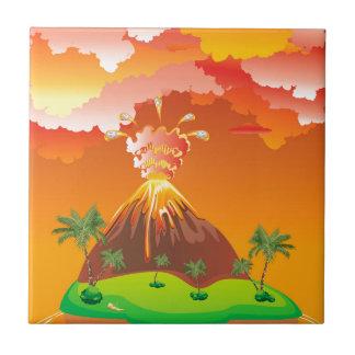 Cartoon Volcano Eruption 2 Tile