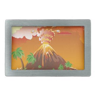 Cartoon Volcano Eruption Belt Buckle
