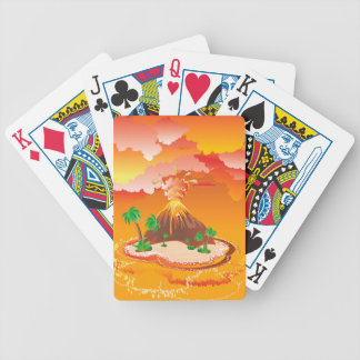 Cartoon Volcano Eruption Bicycle Playing Cards