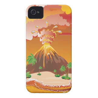 Cartoon Volcano Eruption Case-Mate iPhone 4 Case
