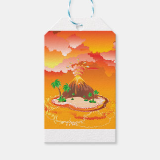 Cartoon Volcano Eruption Gift Tags