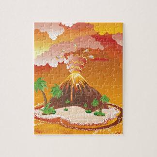 Cartoon Volcano Eruption Jigsaw Puzzle