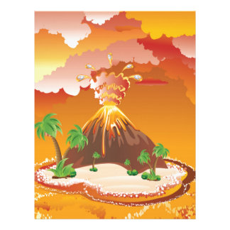 Cartoon Volcano Eruption Letterhead