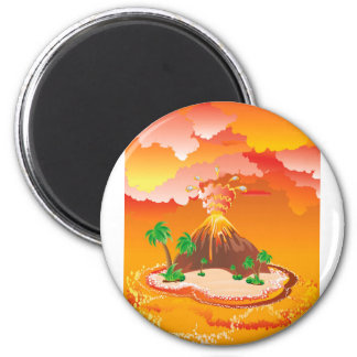 Cartoon Volcano Eruption Magnet