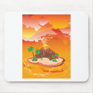 Cartoon Volcano Eruption Mouse Pad