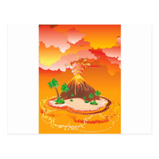 Cartoon Volcano Eruption Postcard