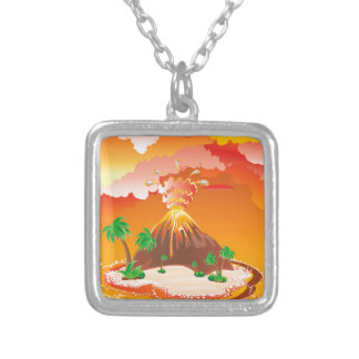 Cartoon Volcano Eruption Silver Plated Necklace
