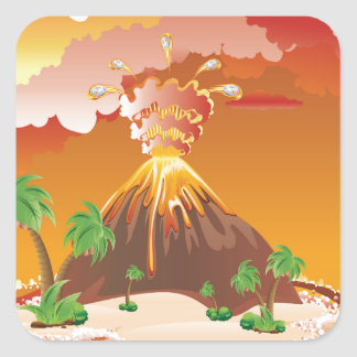 Cartoon Volcano Eruption Square Sticker