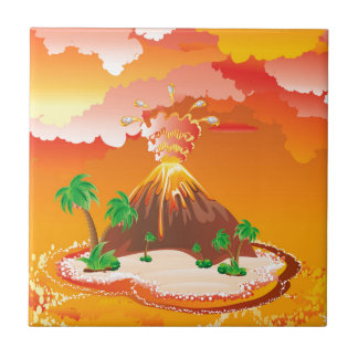 Cartoon Volcano Eruption Tile