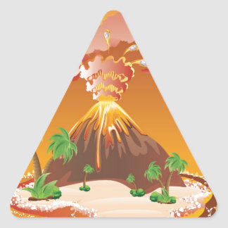Cartoon Volcano Eruption Triangle Sticker