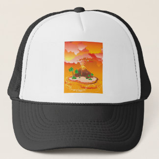 Cartoon Volcano Eruption Trucker Hat