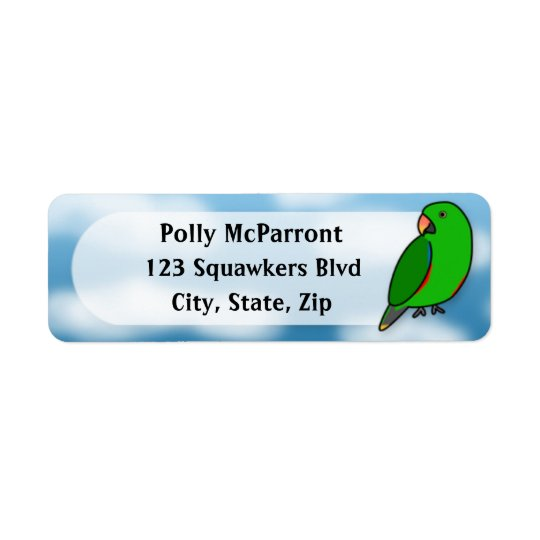 Cartoon Vosmaeri Eclectus Male Return Address Label