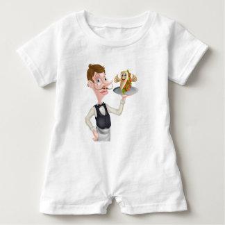 Cartoon Waiter and Thumbs Up Kebab Baby Romper
