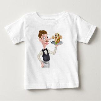 Cartoon Waiter and Thumbs Up Kebab Baby T-Shirt