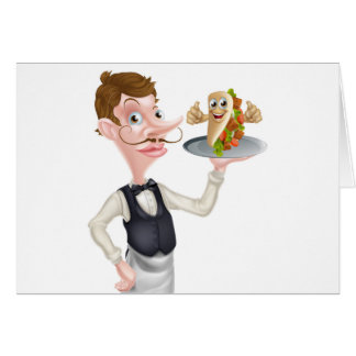 Cartoon Waiter and Thumbs Up Kebab Card