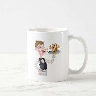 Cartoon Waiter and Thumbs Up Kebab Coffee Mug