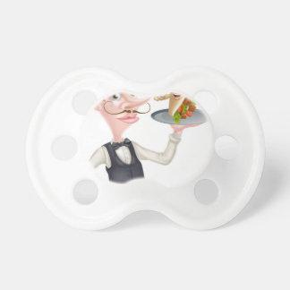 Cartoon Waiter and Thumbs Up Kebab Pacifier