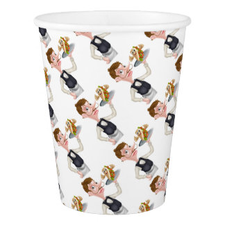 Cartoon Waiter and Thumbs Up Kebab Paper Cup