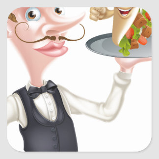 Cartoon Waiter and Thumbs Up Kebab Square Sticker