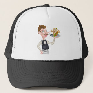 Cartoon Waiter and Thumbs Up Kebab Trucker Hat