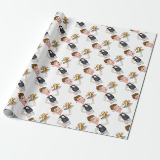 Cartoon Waiter and Thumbs Up Kebab Wrapping Paper
