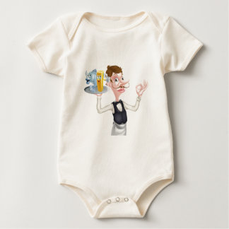 Cartoon Waiter Fish and Chip Mascots Baby Bodysuit