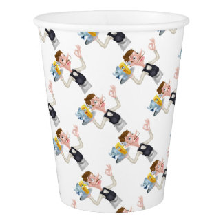 Cartoon Waiter Fish and Chip Mascots Paper Cup