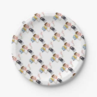 Cartoon Waiter Fish and Chip Mascots Paper Plate