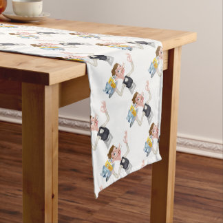 Cartoon Waiter Fish and Chip Mascots Short Table Runner