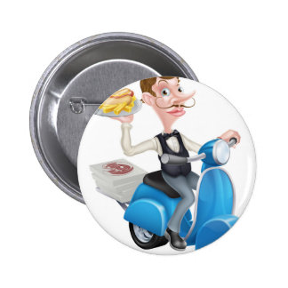 Cartoon Waiter on Scooter Moped Delivering Hotdog 2 Inch Round Button