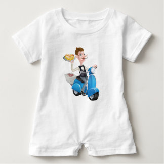 Cartoon Waiter on Scooter Moped Delivering Hotdog Baby Romper