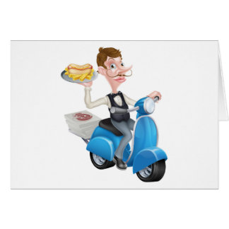 Cartoon Waiter on Scooter Moped Delivering Hotdog Card
