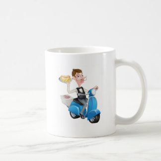 Cartoon Waiter on Scooter Moped Delivering Hotdog Coffee Mug
